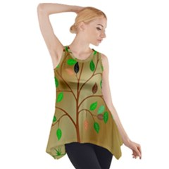 Tree Root Leaves Contour Outlines Side Drop Tank Tunic