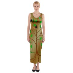 Tree Root Leaves Contour Outlines Fitted Maxi Dress