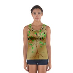 Tree Root Leaves Contour Outlines Women s Sport Tank Top