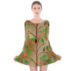 Tree Root Leaves Contour Outlines Long Sleeve Velvet Skater Dress