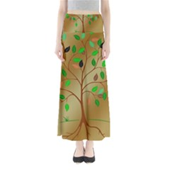 Tree Root Leaves Contour Outlines Maxi Skirts