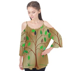 Tree Root Leaves Contour Outlines Flutter Tees