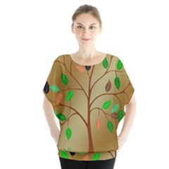 Tree Root Leaves Contour Outlines Blouse