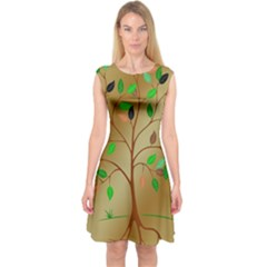Tree Root Leaves Contour Outlines Capsleeve Midi Dress