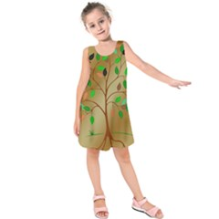 Tree Root Leaves Contour Outlines Kids  Sleeveless Dress