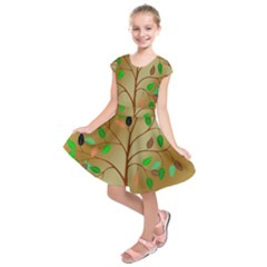 Tree Root Leaves Contour Outlines Kids  Short Sleeve Dress