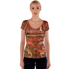 Works From The Local Women s V-Neck Cap Sleeve Top