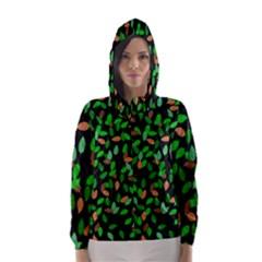 Leaves True Leaves Autumn Green Hooded Wind Breaker (Women)