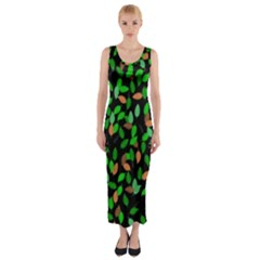 Leaves True Leaves Autumn Green Fitted Maxi Dress