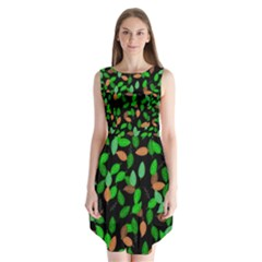 Leaves True Leaves Autumn Green Sleeveless Chiffon Dress