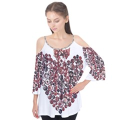 Button Heart Flutter Sleeve Tee