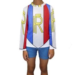 Semi-Official Shield of France Kids  Long Sleeve Swimwear