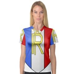 Semi-Official Shield of France Women s V-Neck Sport Mesh Tee