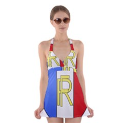Semi-Official Shield of France Halter Swimsuit Dress