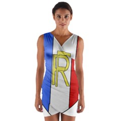 Semi-Official Shield of France Wrap Front Bodycon Dress