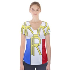 Semi-Official Shield of France Short Sleeve Front Detail Top