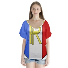 Semi-Official Shield of France Flutter Sleeve Top