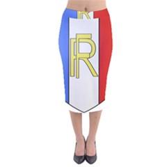 Semi-Official Shield of France Velvet Midi Pencil Skirt