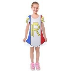 Semi-Official Shield of France Kids  Short Sleeve Velvet Dress