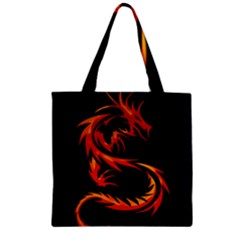 Dragon Zipper Grocery Tote Bag