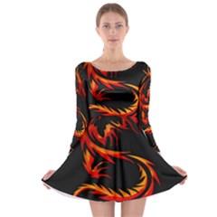 Dragon Long Sleeve Skater Dress