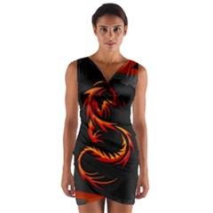 Dragon Wrap Front Bodycon Dress