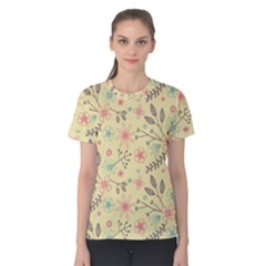 Seamless Spring Flowers Patterns Women s Cotton Tee