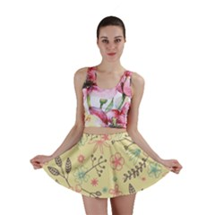 Seamless Spring Flowers Patterns Mini Skirt