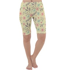 Seamless Spring Flowers Patterns Cropped Leggings