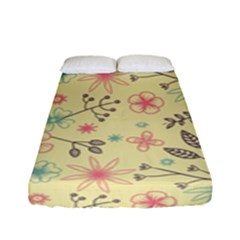Seamless Spring Flowers Patterns Fitted Sheet (Full/ Double Size)