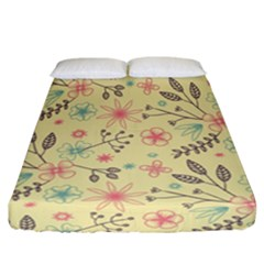 Seamless Spring Flowers Patterns Fitted Sheet (California King Size)