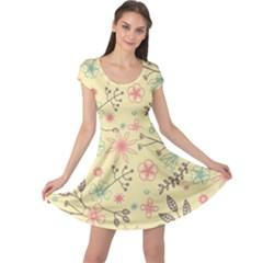 Seamless Spring Flowers Patterns Cap Sleeve Dresses