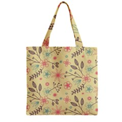 Seamless Spring Flowers Patterns Zipper Grocery Tote Bag