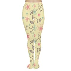 Seamless Spring Flowers Patterns Women s Tights