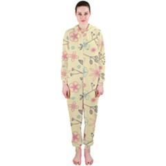 Seamless Spring Flowers Patterns Hooded Jumpsuit (Ladies)