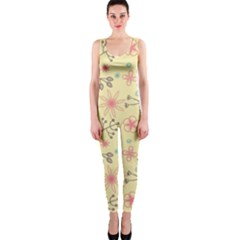 Seamless Spring Flowers Patterns OnePiece Catsuit