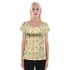 Seamless Spring Flowers Patterns Women s Cap Sleeve Top