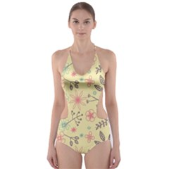 Seamless Spring Flowers Patterns Cut-Out One Piece Swimsuit