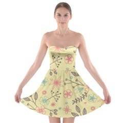 Seamless Spring Flowers Patterns Strapless Bra Top Dress