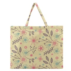 Seamless Spring Flowers Patterns Zipper Large Tote Bag