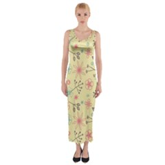 Seamless Spring Flowers Patterns Fitted Maxi Dress