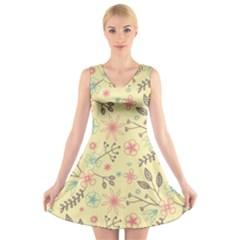 Seamless Spring Flowers Patterns V-Neck Sleeveless Skater Dress