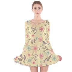 Seamless Spring Flowers Patterns Long Sleeve Velvet Skater Dress