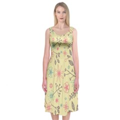 Seamless Spring Flowers Patterns Midi Sleeveless Dress