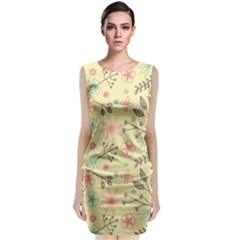 Seamless Spring Flowers Patterns Classic Sleeveless Midi Dress