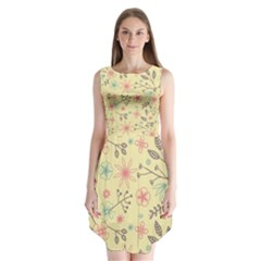 Seamless Spring Flowers Patterns Sleeveless Chiffon Dress