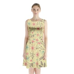 Seamless Spring Flowers Patterns Sleeveless Chiffon Waist Tie Dress
