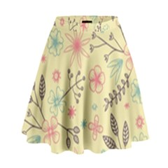 Seamless Spring Flowers Patterns High Waist Skirt