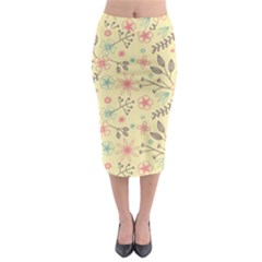 Seamless Spring Flowers Patterns Midi Pencil Skirt