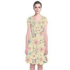 Seamless Spring Flowers Patterns Short Sleeve Front Wrap Dress